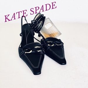 KATE SPADE BLACK SLING BACK POINTED TOE PUMPS
